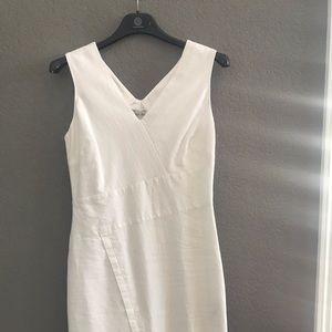 White House Black Market, White Linen Dress